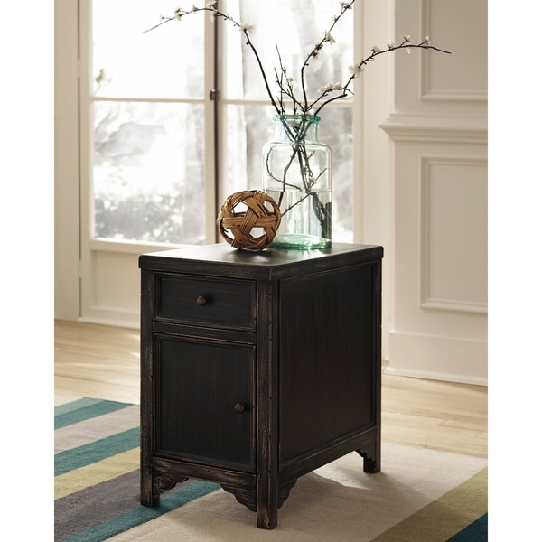 Signature Designs by Ashley Gavelston Black Chair Side End Table
