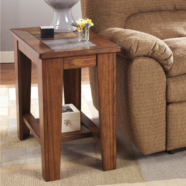 Hideout End Table Free Shipping: Shop Signature Designs By Ashley Toscana Rich Warm Brown