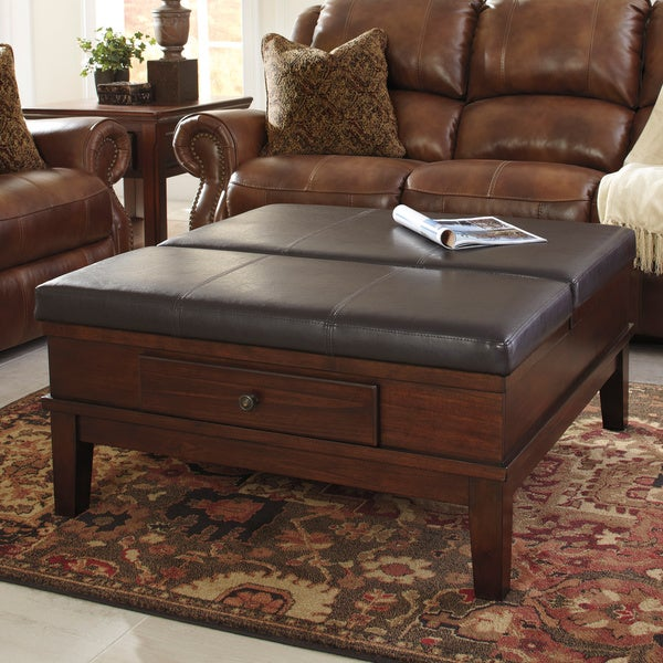 Merihill Coffee Table With Ottoman: Shop Signature Designs By Ashley Gately Medium Brown