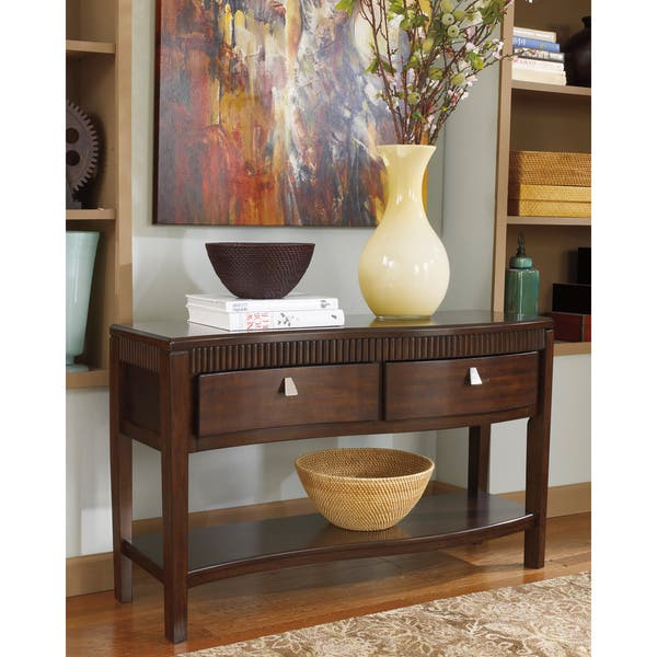Shop Signature Designs By Ashley Marxmir Dark Brown Sofa Table Overstock 9149007