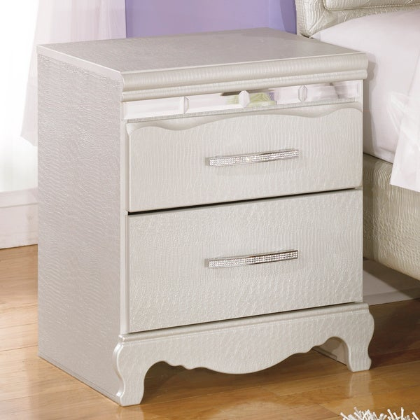 Signature Designs by Ashley Zarollina Silver Two Drawer Night Stand