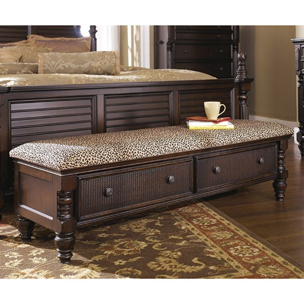 Signature Design By Ashley Key Town Brown Bedroom Storage Bench Free Shipping Today 9149055