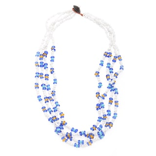 Tropical Blue and White Multi Glass Bead 21-inch Necklace