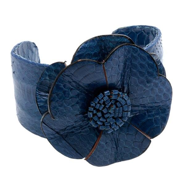 Base Metal Adjustable Blue Leather Flower Cuff Bracelet