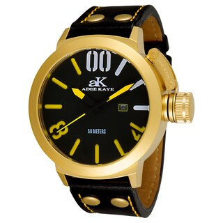Adee Kaye Men's AK7285-MG Mondo G4 Black and Goldtone Chronograph Watch