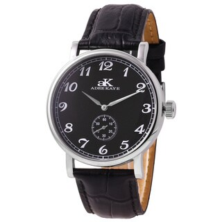 Adee Kaye Mens AK9061-MBK Vintage Black Leather Mechanical Watch