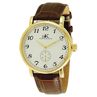 Adee Kaye Men's Vintage Brown Leather Mechanical Watch