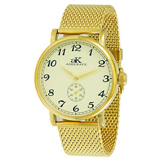 Adee Kaye Men's AK9061-MG/MESH Vintage Goldtone Mechanical Watch