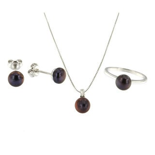 Sterling Silver Black Freshwater Pearl Jewelry Set (7-8 mm)