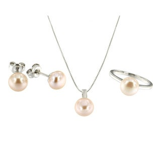 Sterling Silver Peach Freshwater Pearl 3-piece Jewelry Set (7-8 mm)