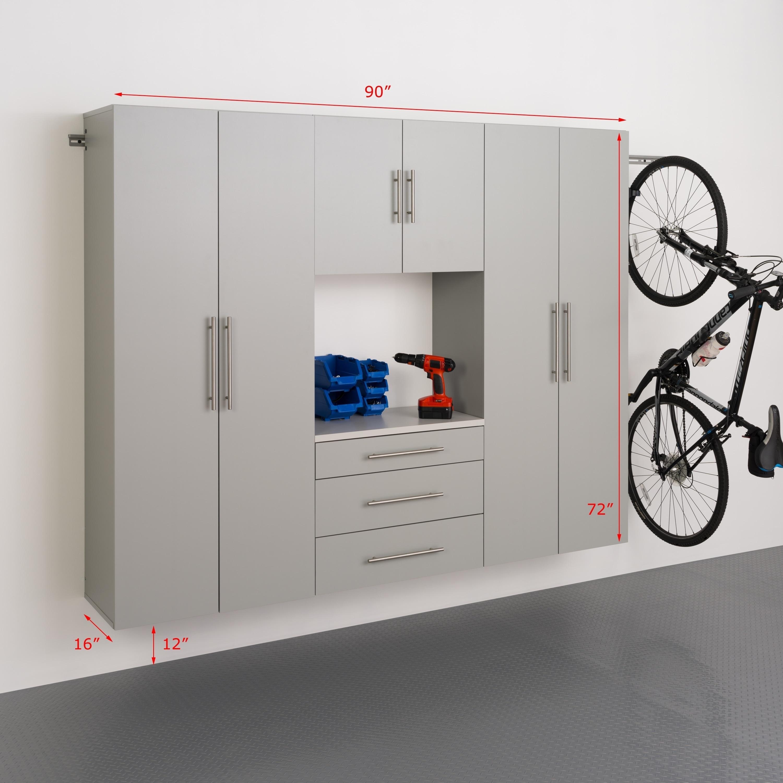 Prepac Stone Grey Laminate 4-piece Storage Cabinet Set (S...