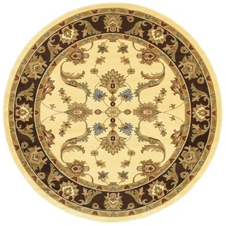 LNR Home Adana Cream/ Brown Oriental Area Rug (6'2 Round)