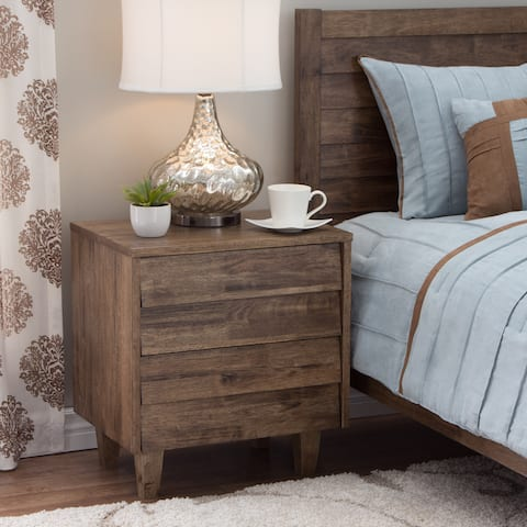 Carson Carrington Venetian Brown/Grey 2-drawer Mid-century Style Nightstand
