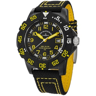 Zeno Men's 6709-515Q-A19 'Divers' Black Dial Black/Yellow Fabric Strap Watch