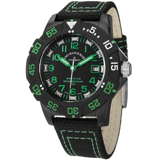 Zeno Men's 6709-515Q-A18 'Divers' Black Dial Black/Green Fabric Strap Watch