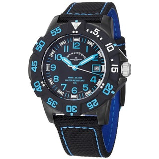 Zeno Men's 6709-515Q-A14 'Divers' Black Dial Black/Blue Fabric Strap Quartz Watch
