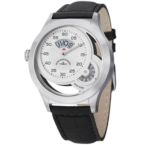 Zeno Men's 6733Q-I2 'Quartz' Silver Dial Black Leather Strap Watch