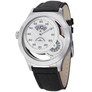 Zeno Men's 'Quartz' Silver Dial Black Leather Strap Watch