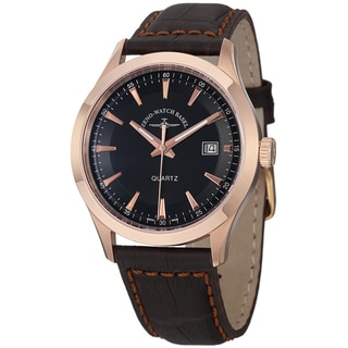 Zeno Men's 6662-515QPGR-F1 'VintageLine' Black Dial Brown Leather Strap Rose Goldtone Watch