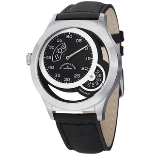 Zeno Men's 'Quartz' Black Dial Black Leather Strap Watch
