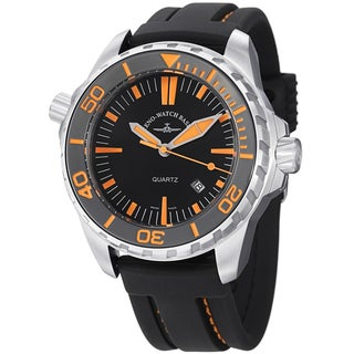 Zeno Men's 'Divers' Black Dial Black Rubber Strap Quartz Watch
