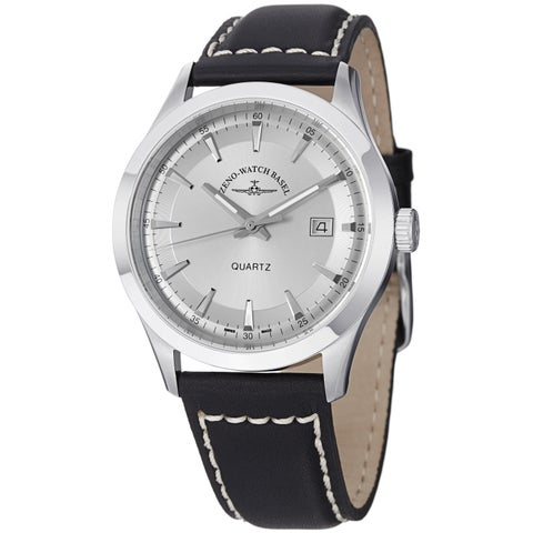 Zeno Men's 'VintageLine' Silver Dial Black Leather Strap Watch