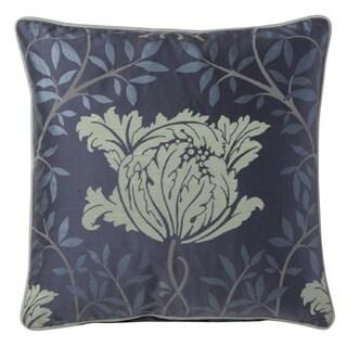 Corona Decor Fine Embroidered Floral Design Silk Accent Pillow