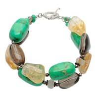 Sterling Silver Multi-gemstone Toggle Bracelet