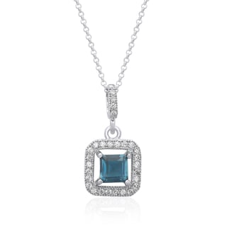 Dolce Giavonna Sterling Silver London Blue Topaz and Cubic Zirconia Square Necklace