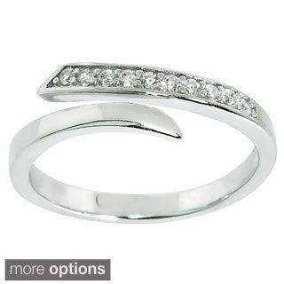 Eternally Haute Sterling Silver Cubic Zirconia Open Ended Midi Knuckle Ring