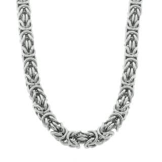 Eternally Haute Stainless Steel Byzantine 20-inch Chain Necklace|https://ak1.ostkcdn.com/images/products/9151706/P16331405.jpg?impolicy=medium