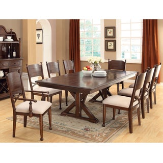 Furniture of America Descani Brown Cherry 7-piece Dining Set with Leaf
