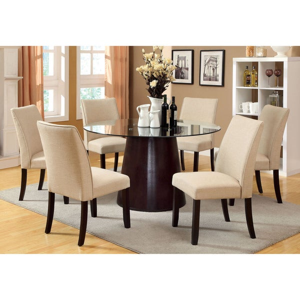 shop furniture of america kressina 7 piece round dining set free shipping today overstock. Black Bedroom Furniture Sets. Home Design Ideas