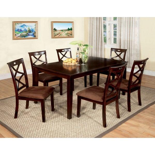 Furniture of America Xenise 7-piece Dark Walnut Dining Set