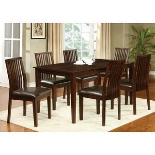 Furniture of America Drezda 7-piece Transitional Walnut Dining Set