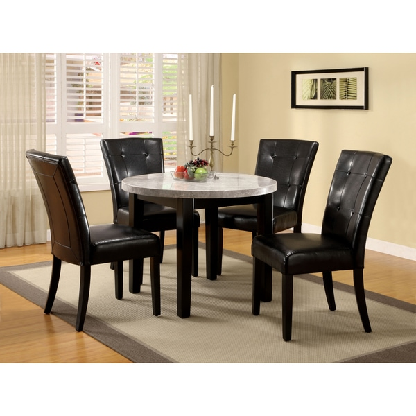 Furniture Of America Perican Round 5 Piece Genuine Marble Dining Set