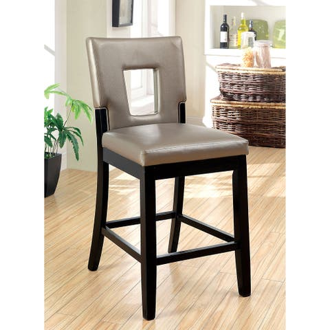 Furniture of America Keyhole Faux Leather Counter Height Chairs (Set of 2)