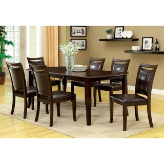 Furniture of America Zita Modern Espresso Solid Wood 7-piece Dining Set