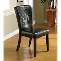 Furniture of America Bellasia Black Leatherette Dining Chairs (Set of 2)