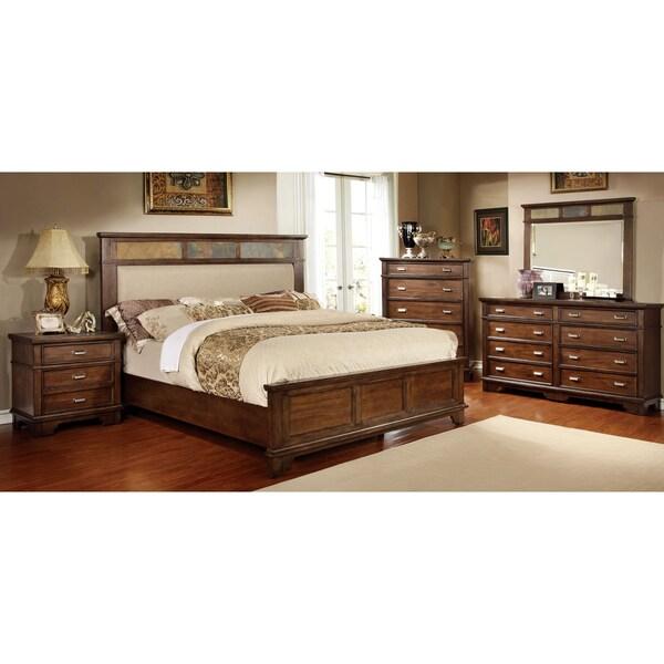 Furniture of america glisea 4 piece brown cherry bedroom for Bedroom 4 piece set