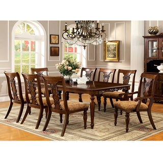 Furniture of America Ella Formal 9-Piece Dark Oak Dining Set  sc 1 st  Overstock.com : oak dining table set - pezcame.com