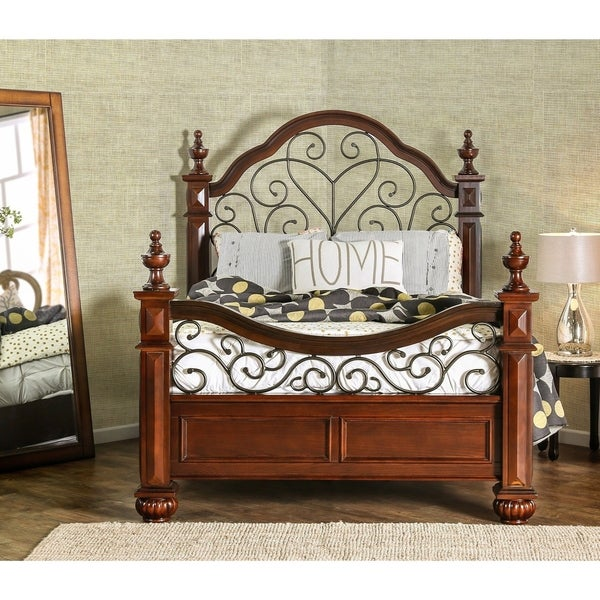 Furniture of America Sumy Traditional Oak Solid Wood Poster Bed