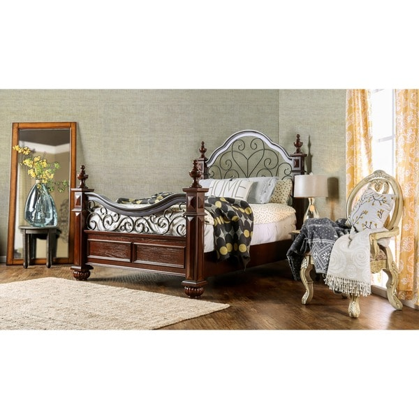 Furniture Of America Barath Antique Dark Oak Wood And Metal Poster Bed Free Shipping Today