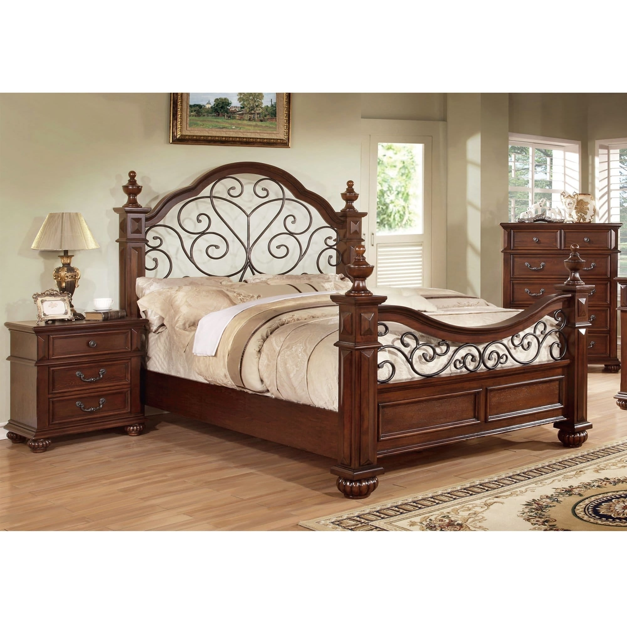 Barath Traditional Antique Dark Oak 2-piece Bedroom Set