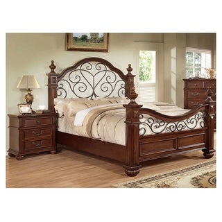 Furniture of America Barath 2 piece Antique Dark Oak Bed with Nightstand Set. Oak Finish  Wood Bedroom Sets For Less   Overstock com
