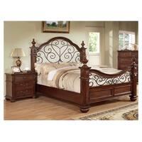 Furniture of America Barath 2-piece Antique Dark Oak Bed with Nightstand Set