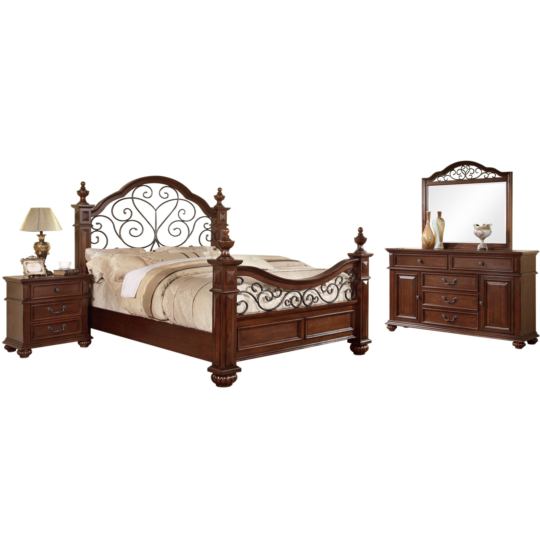 Furniture of America Sumy Traditional Oak 4-piece Bedroom Set