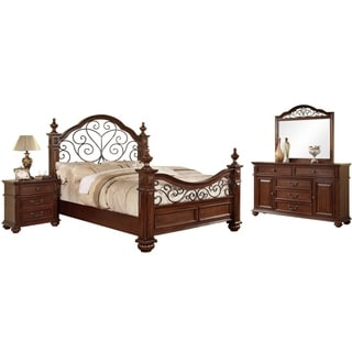 shop furniture of america barath 4 piece antique dark oak bedroom set on sale free shipping today overstockcom 9151754 - Oak Bedroom Sets