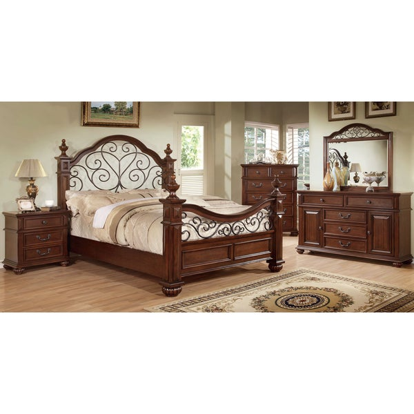 Furniture of America Barath 4-piece Antique Dark Oak Bedroom Set ...