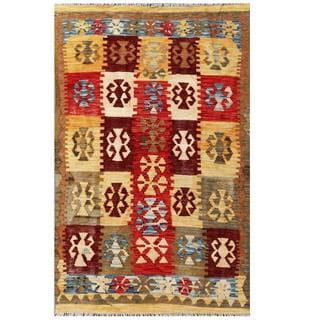 Herat Oriental Afghan Hand-woven Tribal Kilim Red/ Tan Wool Rug (3'9 x 5'10)